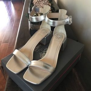 Vince Camuto silver sandals new with box
